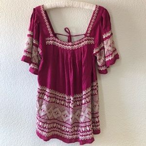 Free People Embroidered Raspberry Tunic Boho